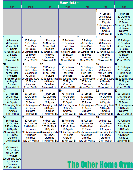 Quick Easy Calendar March Workout Plan
