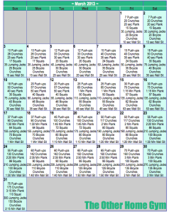 March Workout Plan - Calendar
