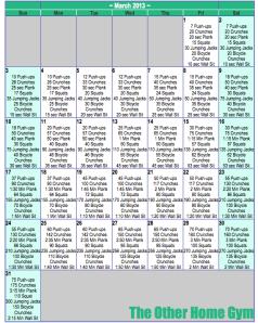 March Workout Plan - Calendar