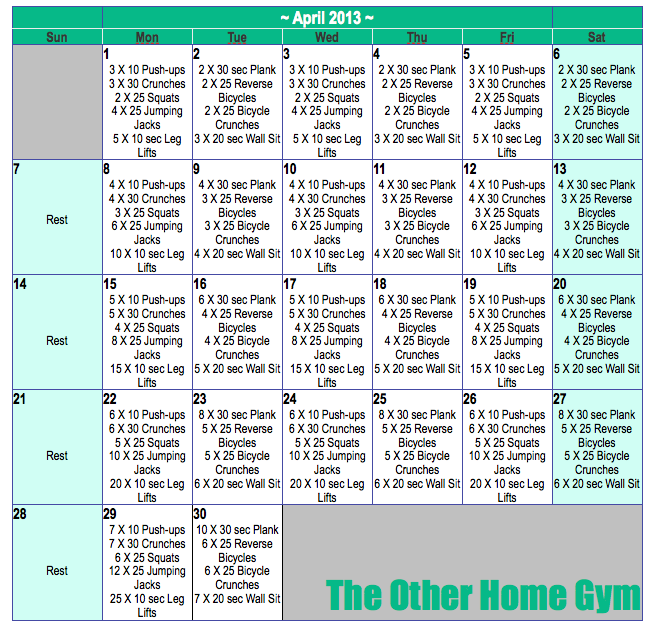 April Calendar The Other Home Gym